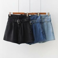 Fashion Summer Women High Waist Jeans Shorts Blue Black Belted Sexy Female Denim Shorts o ring detail self belted shorts