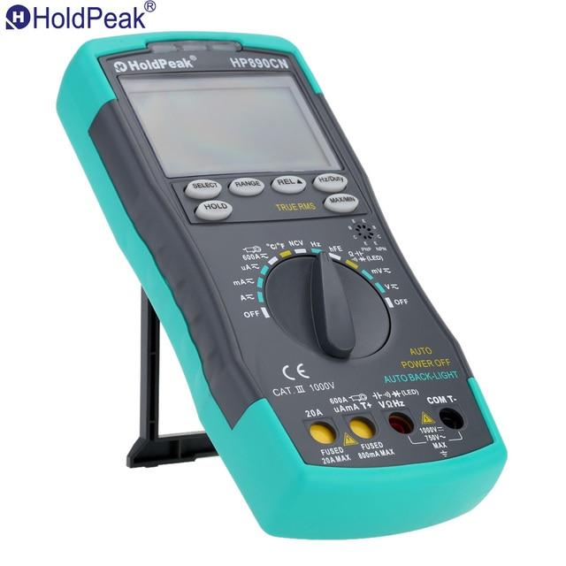 токовые клещи мультиметр цифровой Стабильный ЖК HoldPeak HP-890CN Цифровой Мультиметр DC AC Напряжение Ток Метр Температура Meaurement Авто Диапазон
