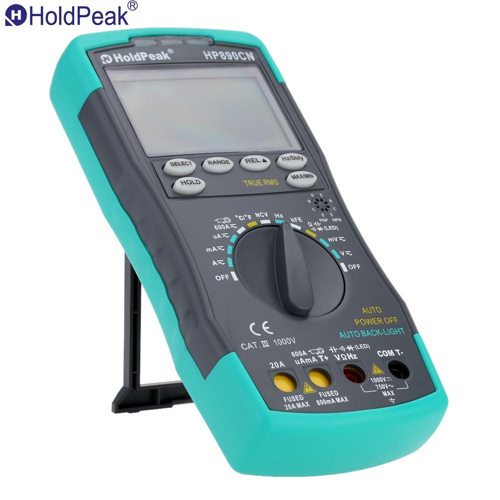 Holdpeak Hp-890cn multímetro Digital de Fondo AC/DC voltímetro amperímetro Ohm portátil medidor de resistencia de ciclo de prueba