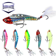 HAODIAOZHE VIB With Feather Fishing Lure Hard Bait Luminous Diffrent Colors 6.5cm 7.5cm 13g 18g 25g 30g Isca Spoon Pesca YU517