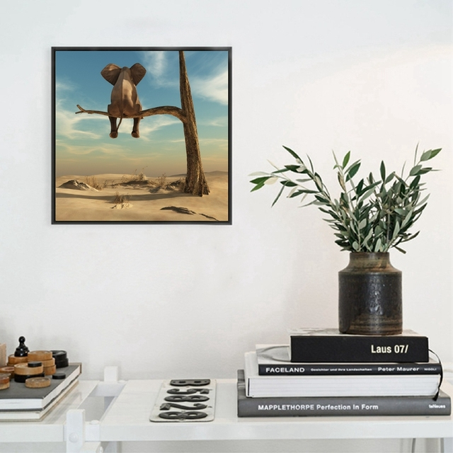 Canvas Painting Elephant Sitting On Tree Branch Canvas Poster Print For Living  Room Bedroom Home Decoration
