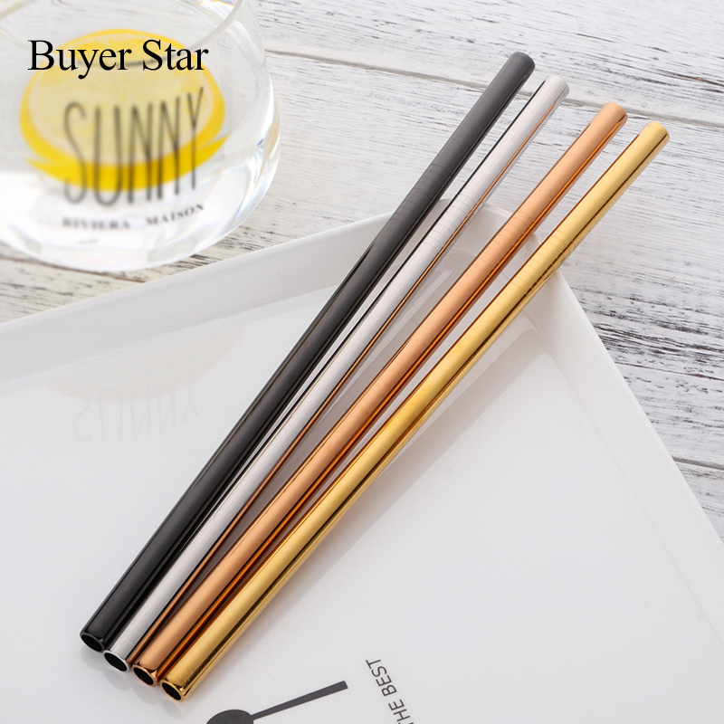 100Pcs Drinking Straw Reusable Diameter 8mm Juice Straws Cleaner Brush Set 2017 High Quality Eco Friendly
