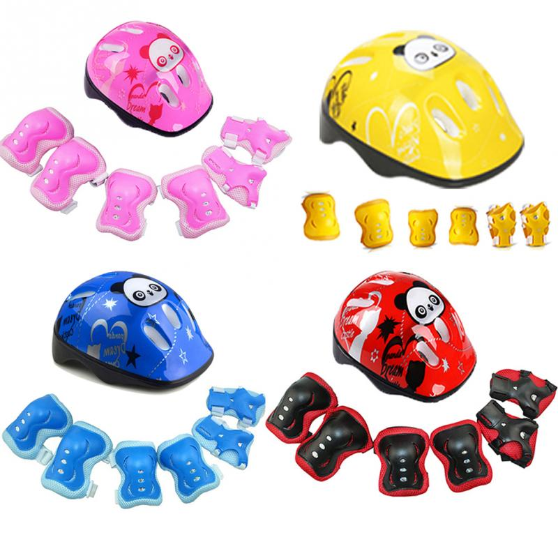 Children Bicycle Helmet-Guard Wrist-Pads Cycling-Pad Skating Knee Kids Elbow 7pcs/Set