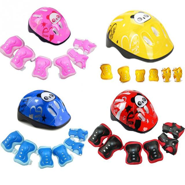 7Pcs/set Kids Skating Cycling Helmet Guard Elbow Knee Wrist Pads Children Bicycle Helmet Protection Safety Guard Cycling Pad