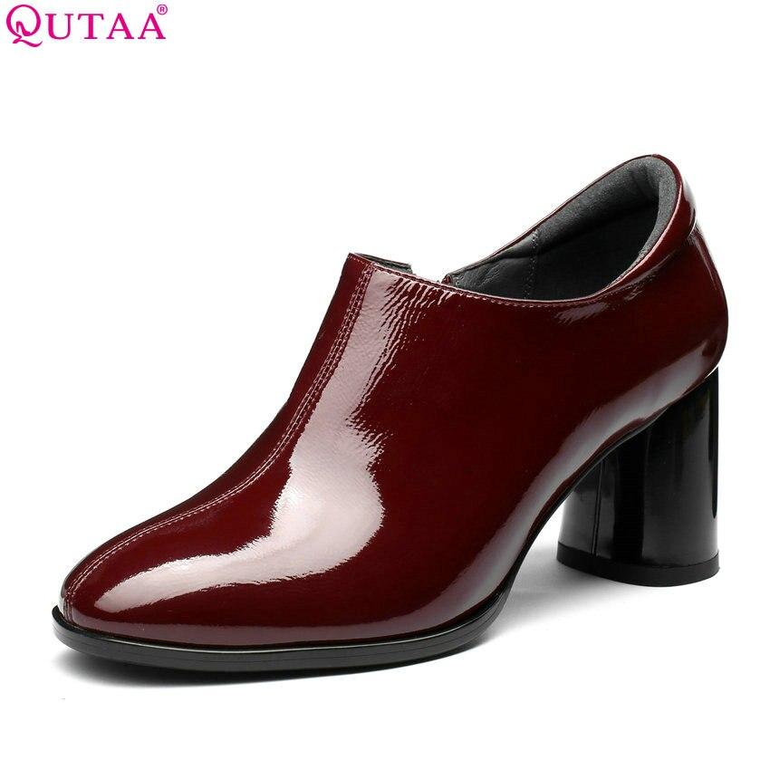 QUTAA 2018 Women Pumps Square High Heel Fashion Women Shoes Platform Zipper Round Toe Casual Ladies Wedding Shoes Size 34-42 цена