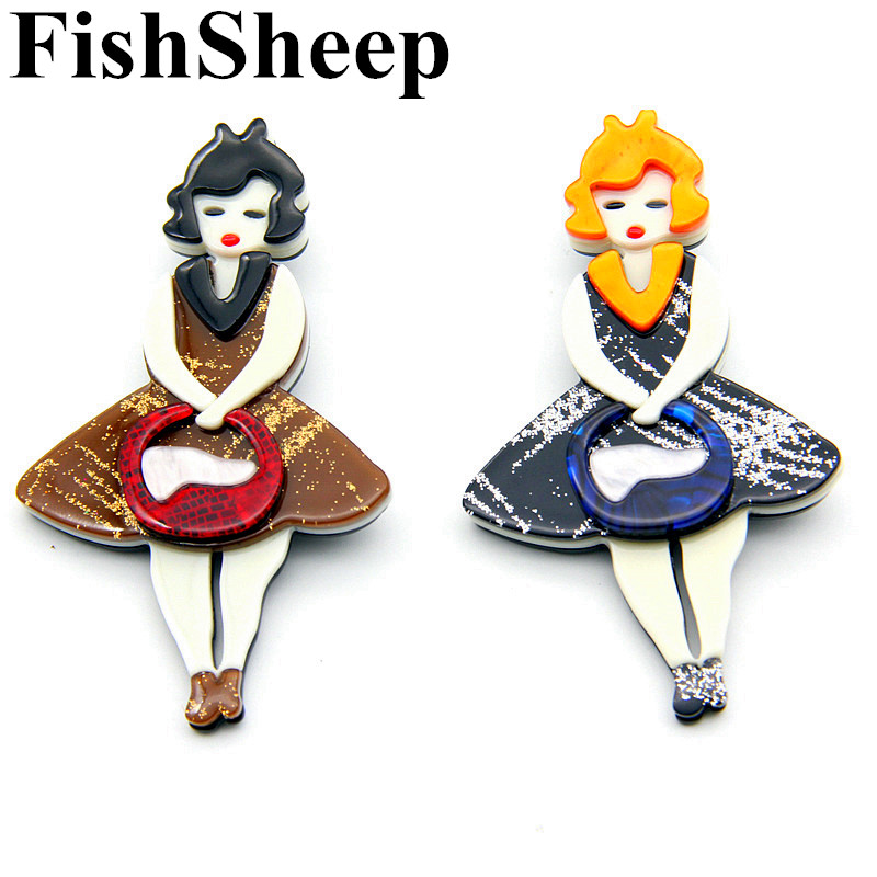 New Large Girl Figure Brooches And Pins For Women Lovely Acrylic Lady With  Handbag Brooch Badges fc57dd9bb37a