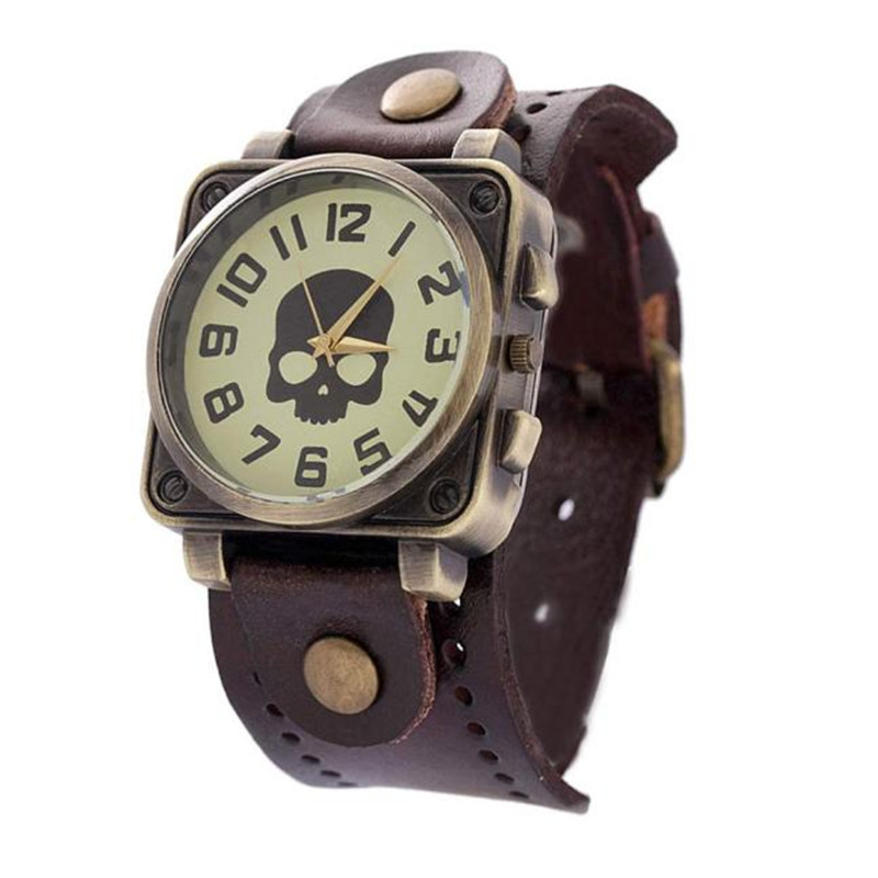 Casual Dress Watches Women Vintage Wristwatch New Fashion Leather Quartz Watch Punk Skull Style Relogio feminino Clock new fashion unisex women wristwatch quartz watch sports casual silicone reloj gifts relogio feminino clock digital watch orange
