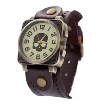Casual Dress Watches Women Vintage Wristwatch New Fashion Leather Quartz Watch Punk Skull Style Relogio feminino Clock
