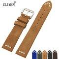 ZLIMSN 20mm Faixas de Relógio de Couro Genuíno Pulseiras Strap Mens Black Brown Azul Macio Pulseira Belt Buckle Aço Inoxidável relogio