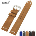 ZLIMSN 20mm Genuine Leather Watchbands Strap Mens Black Brown Blue Watch Bands Soft Bracelet Belt Stainless Steel Buckle relogio