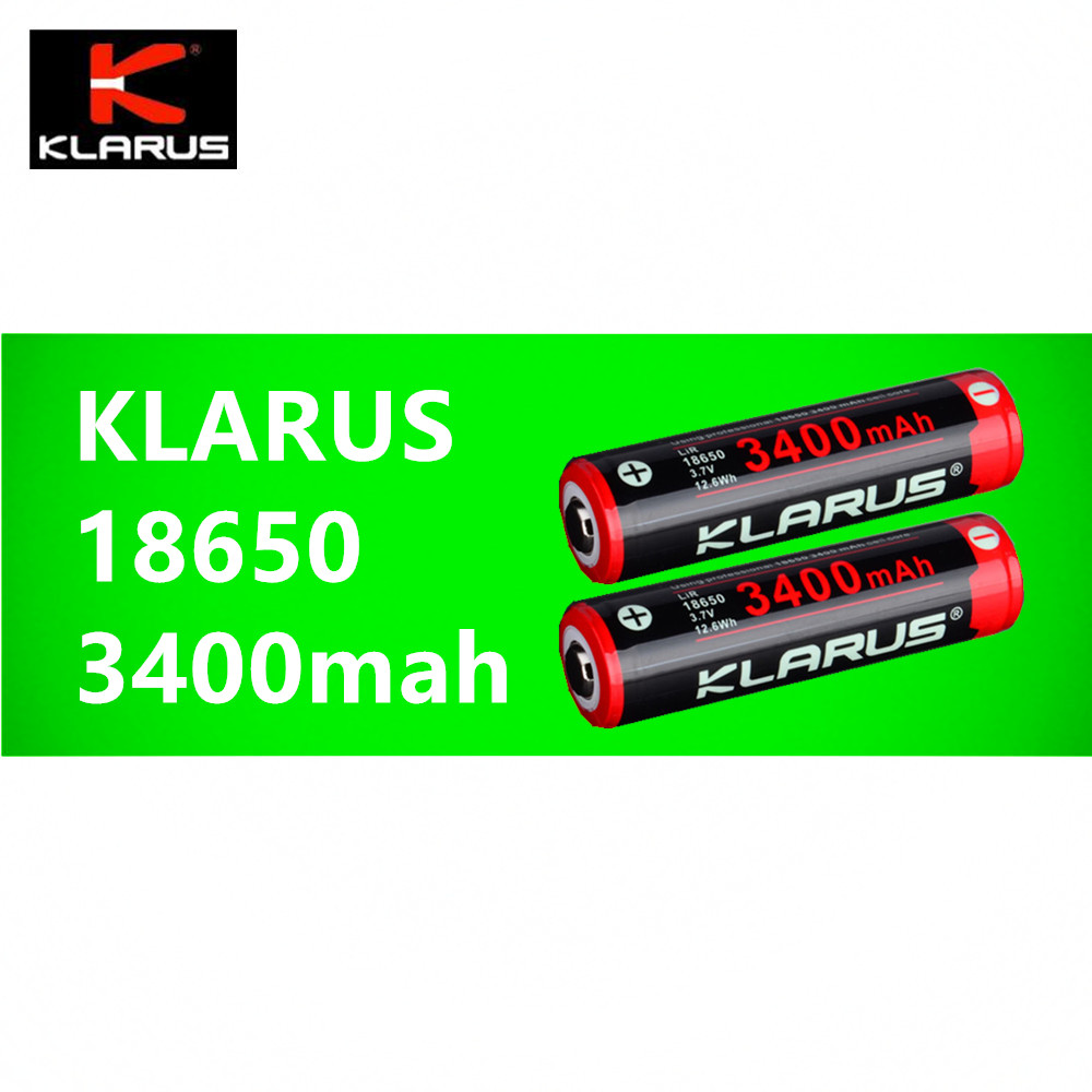 2 Pcs Klarus Lir 18650 3400mah Li Ion Rechargeable Battery 37v 126 Xpower 2600mah Liion W Protection Circuit Free 126wh Board 500 Times Charging Circle Life In Batteries From