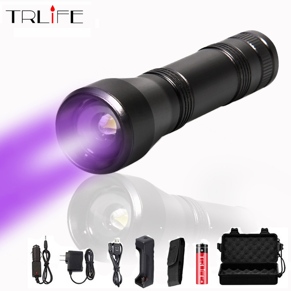 LED UV Flashlight UV Light L2/T6 white light LED Torch Light 5Mode Zoomable 395nm Blacklight by 18650 Battery camping image