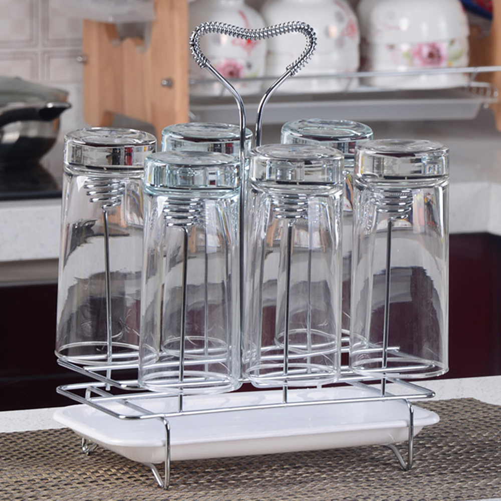 Square Spring Six Cup Drain Rack Down Paper Cup Glass Holder Home Stainless Steel Cup Shelf AKUHOME