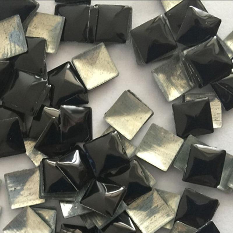 500pcs 10 10mm Black Square Pyramid Hotfix Studs Flat Iron Beads Glue Flatback