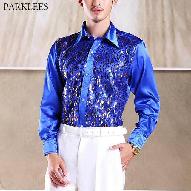 3f4d0b27c0bc1c Royal Blue Wave Pattern Sequin Shirt Men 2019 New Stage Prom Disco Party Shirts  Dress Mens
