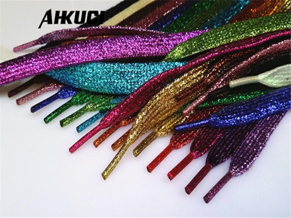 De 100 Hilo Los Cordones Purpurina Color Zapatos Pares Chic Plano Oro Brillante Plata Navidad Reluciente UFxFC15wq