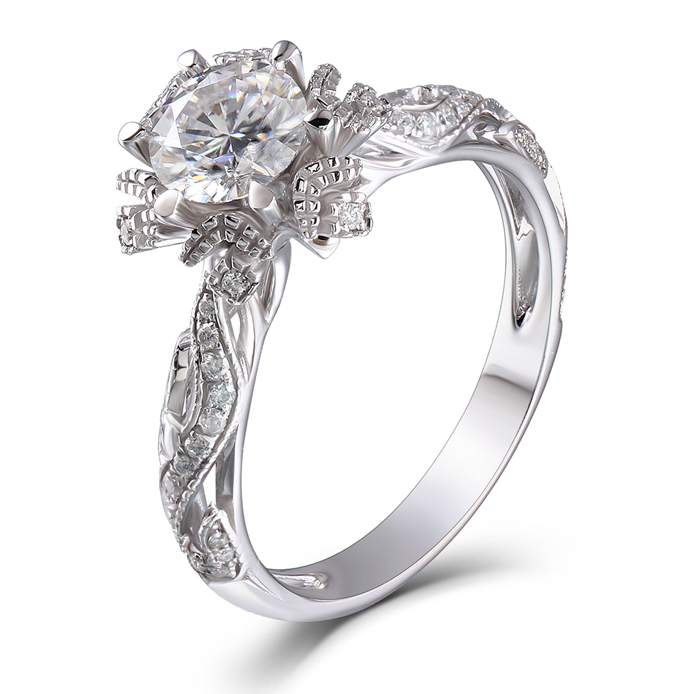 TransGems 14K White Gold 1ct center 6.5mm F color Moissanite Engagement Ring wedding ring Solitare with Accents