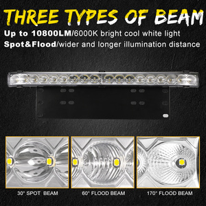 Image 3 - 20 inch 10800LM Spot Flood Led Light Bar with Universal License Plate Frame Mounting Bracket Kit for Truck Car ATV SUV 4X4 Jeep