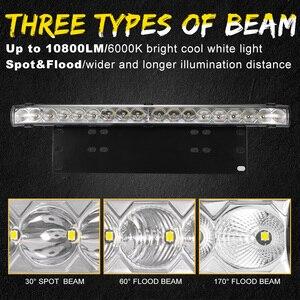 Image 3 - 20 pollici 10800LM Spot Inondazione Ha Condotto La Luce Bar con Universale License Plate Frame Staffa di Montaggio Kit per il Camion Auto ATV SUV 4X4 Jeep