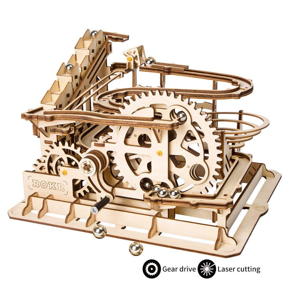 ROKR Hand Cranked Marble Run Wooden Model Kits Assembly 3D Wooden Puzzle Mechanical Model Kits With Balls for Teens and Adults willys jeep 1 10