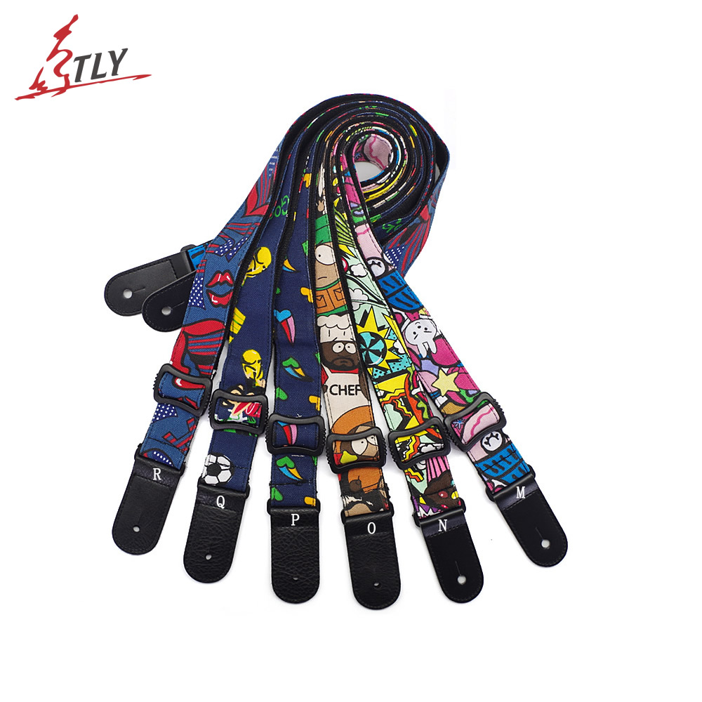 Adjustable Colorful Ukulele Cotton Strap Belt Mini Guitar Strap Ukelele Strap with Soft Leather Ends 1.5*135cm