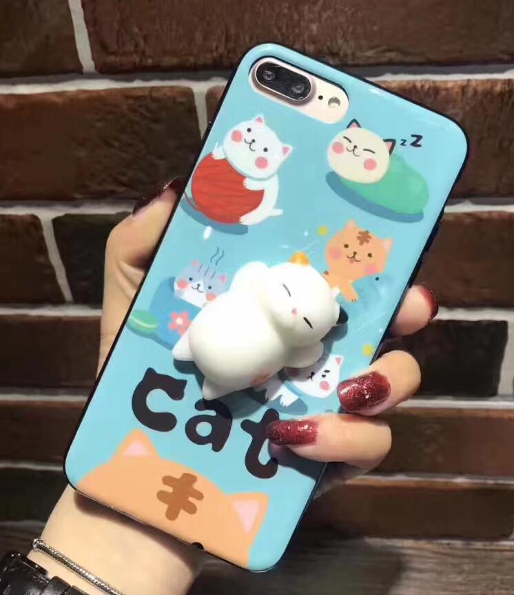 huge discount 9e40d 295bd US $3.99 |Hot Funny Chubby Cat Seals Rub Poke Case Squishy for iphone 7 7  Plus 6 6S 6Plus 6sPlus 3D Cute Animals Squishy Cover Coque-in Fitted Cases  ...