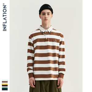 Image 4 - INFLATION Men Autumn Striped Tshirt Men Streetwear Turn Down Collar T shirt Long Sleeve Tees For Men 100% Cotton Shirts 91504W