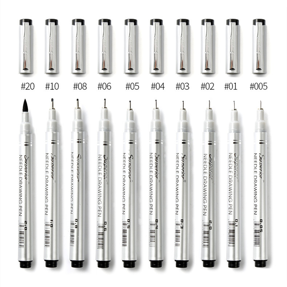 10 Tip Sizes Pigma Micron Fine Line Pens Needle Drawing Pens Technical Drafting Fineliner Pen Set for Sketch Scrapbook Painting алмазный брусок двусторонний extra fine fine hardcoat™ 1200 mesh 9 micron 600 mesh 25 micron dmt w8ef h wb