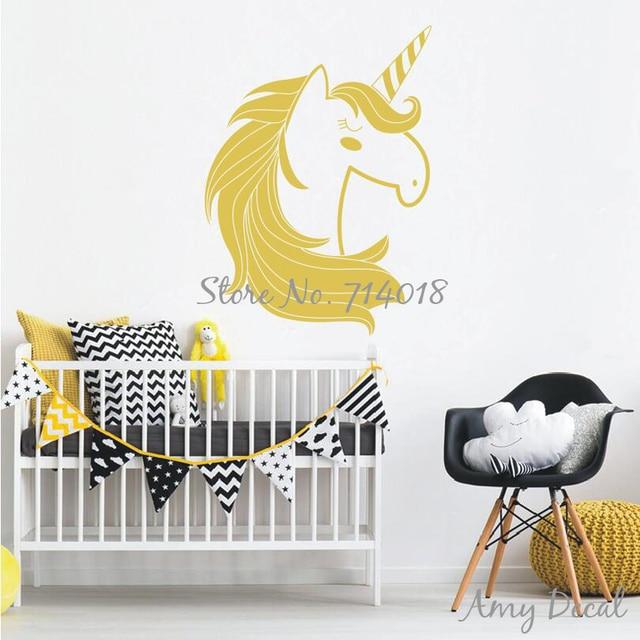 Gold Unicorn Wall Decal Cute Unicorn Wall Decor Sticker for Kids ...