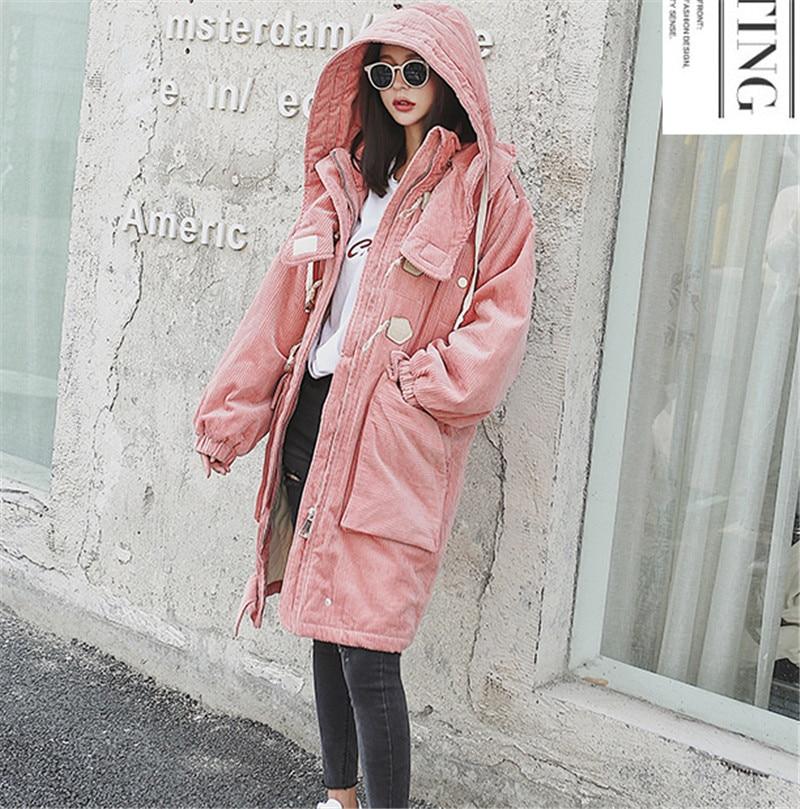 Vintage Corne Grand Veste Parka Rembourré Haute Épais Red En À Hiver Tt3306 Chaud Femmes pink Côtelé Capuchon Coton Bouton Qualité Manteau D'hiver Velours TgtCqwOxH