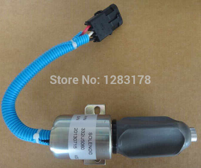 Fuel Shutdown Solenoid Valve 332/J5060 its for JCB excavator, 24V stop solenoid fuel shutdown solenoid 1823723c91 sa 4338 24 for cummins navistar 24v