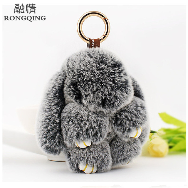 Fashion Cute Real Rabbit Fur Bunny Bag Pendant True Rabbit Hair Toy Doll Handbag Lop Rabbit fur Keyring Women Pompom Keychain