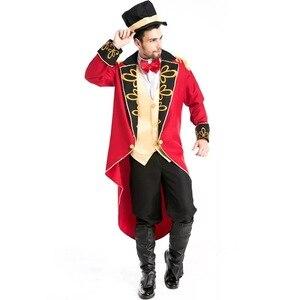 Image 4 - Cadılar bayramı vampir sihirbaz Ringmaster kostüm erkek sirk lider smokin ceket Vintage Tailcoat süslü elbise kıyafet erkek şapka