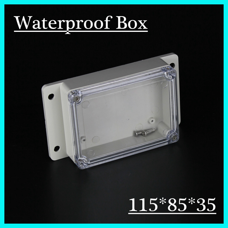 (1 piece/lot) 115*85*35mm Clear ABS Plastic IP65 Waterproof Enclosure PVC Junction Box Electronic Project Instrument Case waterproof abs plastic electronic box white case 6 size