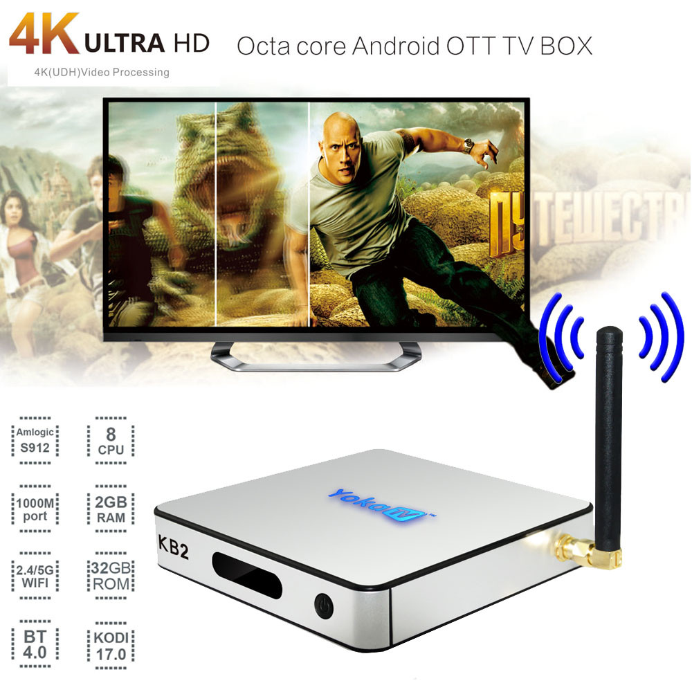 Fashion KB2 Android6.0 Smart TV Box WIFI BT4.0 Amlogic S912 Octa Core Dual Media Player Home Theater NT19 yokatv kb2 amlogic s912 tv box rii i8 white