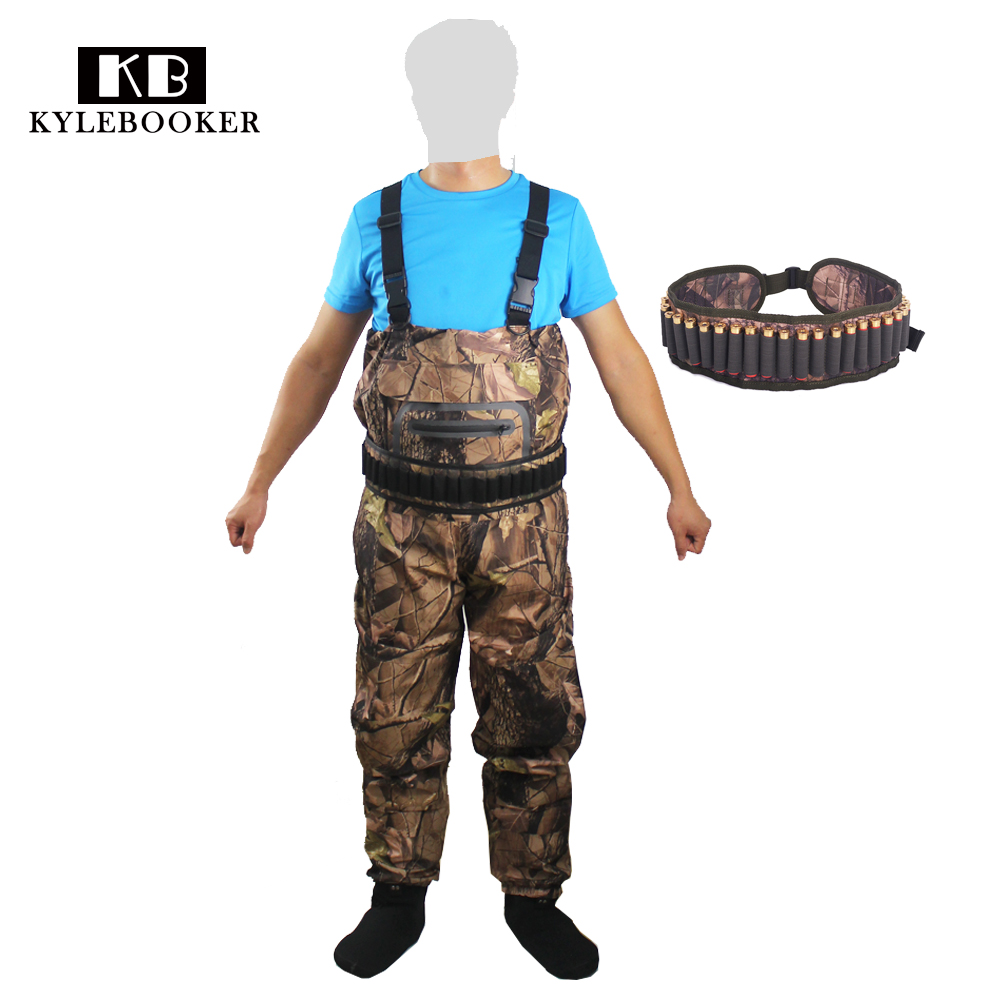 New Camouflage Bionic Waterproof Fishing Hunting waders pants Clothing Breathable Ghillie Suit with Bullet Ammo Waist Belt khaki ruffle waist pants with belt
