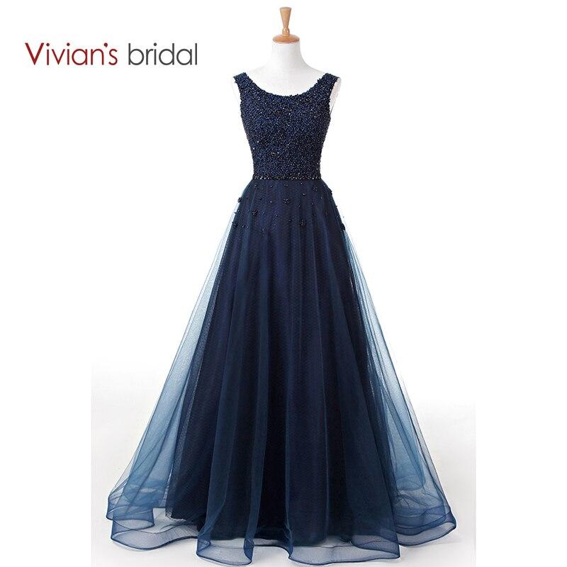 Vivian's Bridal Dark Navy Blue A Line Evening Dress Floor Length Sleeveless Beading Lace Formal Evening Gown 240 311