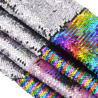 2019 1Yard Double faced Mermaid Fish Scale Sequin Fabric Rainbow Color Polyester Satin Fabric For DIY Sewing Clothing Supplies