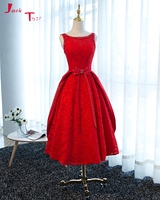 Jark Tozr Vestido De Formatura Curto Beading Scalloped Neck Red Lace Knee Length Homecoming Cocktail Graduation Dresses 2018