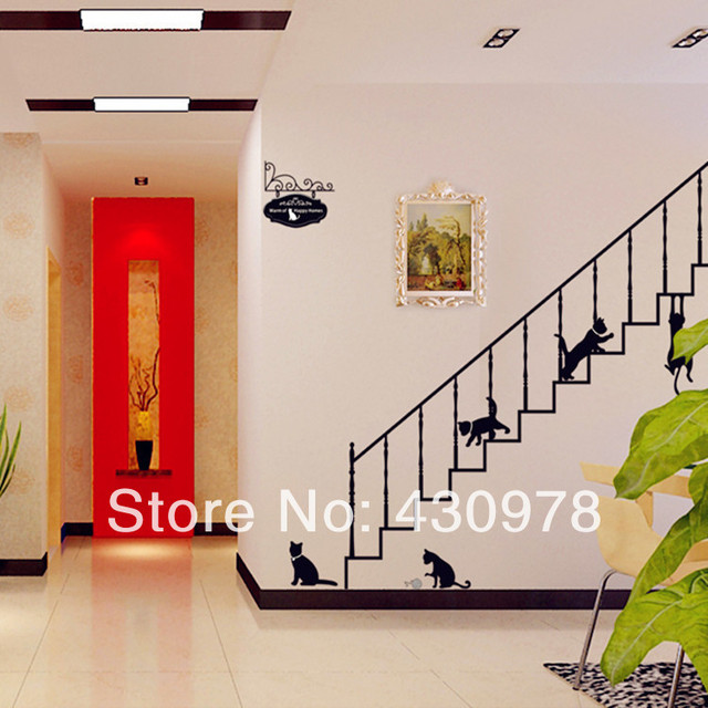 QZ843 Free Shipping 1Pcs Aestheticism Cute Simple Black Playing Stairs Cat For Living Room Decoration Removable