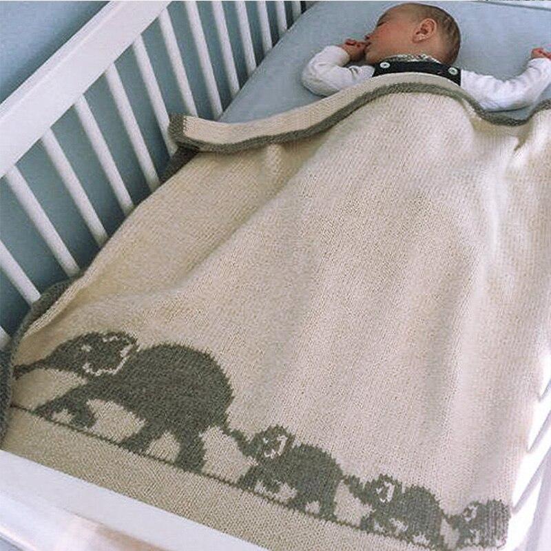 Doux nouveau-né bébé couvertures à langer Animal bande dessinée éléphant tricoté bambin garçons filles couette enfant canapé couverture de literie