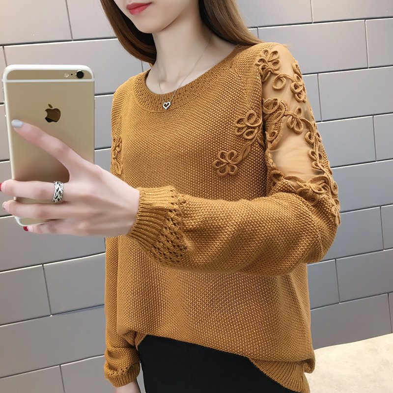 New  Fashion 2019 Women Spring Summer Knitted Sweater  Pullovers Casual Female Knitted Lace Thin  Pullover  Lady  Knitting Shirt