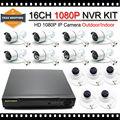 HKES 16CH Sistema De 16 Canais CCTV NVR com 16 pcs 1080 P 960 P Câmera de 2MP IP À Prova D' Água frete grátis
