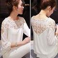 2016 Новый Сексуальный Женская Мода Выдалбливают Кружева Шифон Блузка Случайные Дамы Элегантный Кружева Рубашки