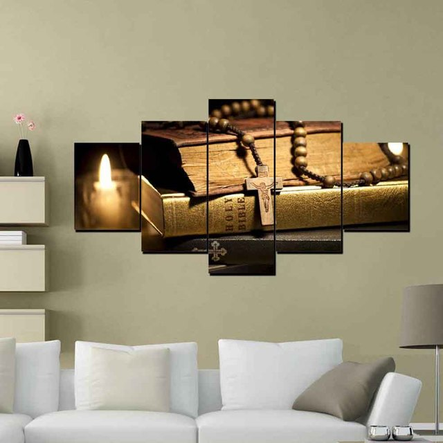 HD Canvas Printed Painting Wall Art Modular Poster 5 Panel Jesus ...