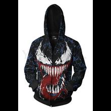 Men and Women Zip Up Hoodies Venom Spiderman 3d Print Hooded Jacket Mravel 4 Movie Anti-hero Sweatshirt  Streetwear Costume men zip front mixed print jacket