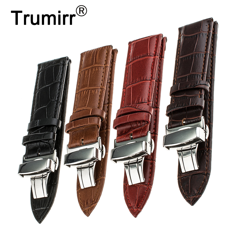 Genuine Leather Watchband 18mm 20mm for DW Daniel Wellington Watch Band Wrist Strap Stainless Steel Butterfly Buckle Bracelet