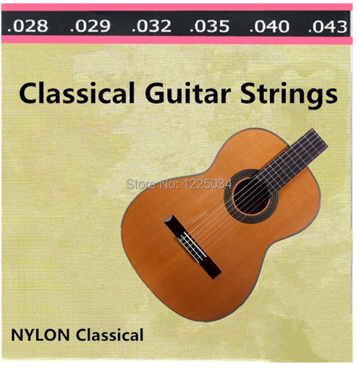 1 set (028-043) Clear Nylon Tie  guitar Strings for classical acoustic guitar musical instruments Accessories