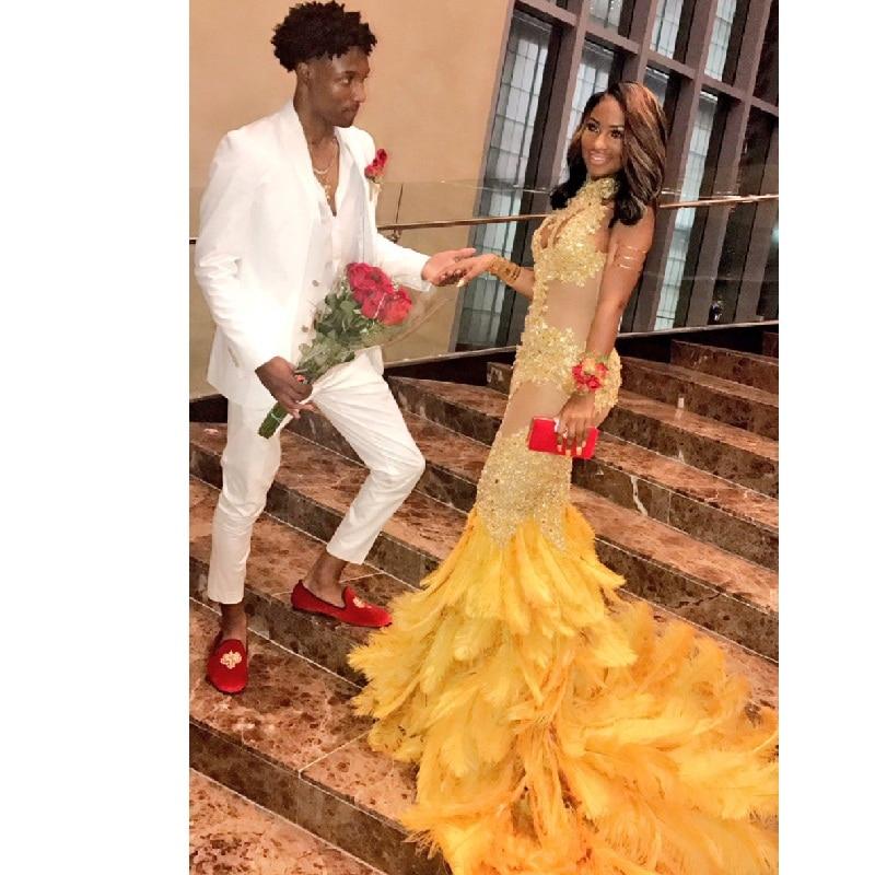 Luxury Beaded Halter Neck Mermaid Prom Dresses 2017 Shiny