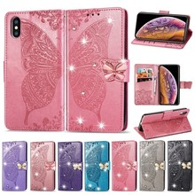 TPU Leather Case For Oneplus 7 Pro Diamond Butterfly Wallet Style Mobile Phone Holster For Oneplus 7 Pro Cover